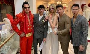 Sophie Turner at her wedding to Joe Jonas (second left) in Las Vegas.