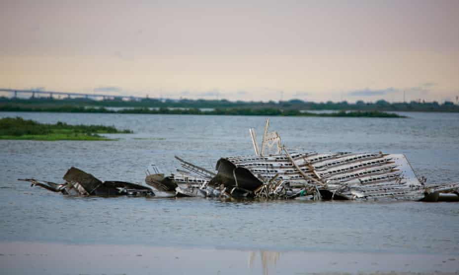 The remains of an exploded SpaceX Starship which launched in March still sit on land in Boca Chica, Texas in May.