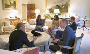 Barack Obama and Michelle Obama visit Kensington Palace for dinner with Britain's Prince William, his wife Catherine, Duchess of Cambridge, and Prince Harry