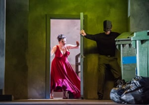 How to make an entrance… Charlie Drummond (Donna Anna) with Jake Muffett in the title role of Don Giovanni.