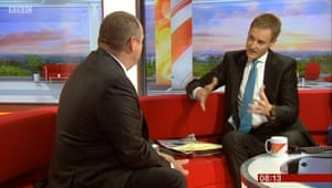 A video grab taken from BBC News of of Sports Direct majority shareholder Mike Ashley appearing on BBC Breakfast with Dan Walker.