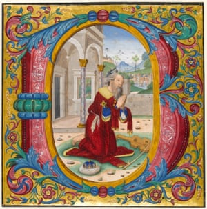 Historiated initial from a choir book, King David kneels in prayer (c. 1490-1500) Rome and Bologna, Italy