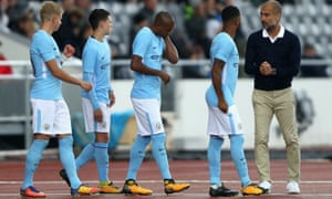 Pep Guardiola gives his team instructions during the pre-season match with West Ham in Iceland.