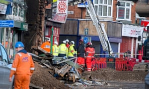 Emergency services at the scene of the explosion in Leicester