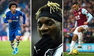 Willian of Chelsea; Allan Saint-Maximin of Newcastle United; Dwight McNeil of Burnley.