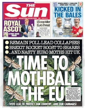The Sun front page June 15,  2016.