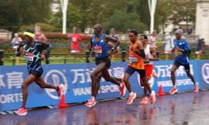 Ethiopia's Shura Kitata (left) in the breakaway pack