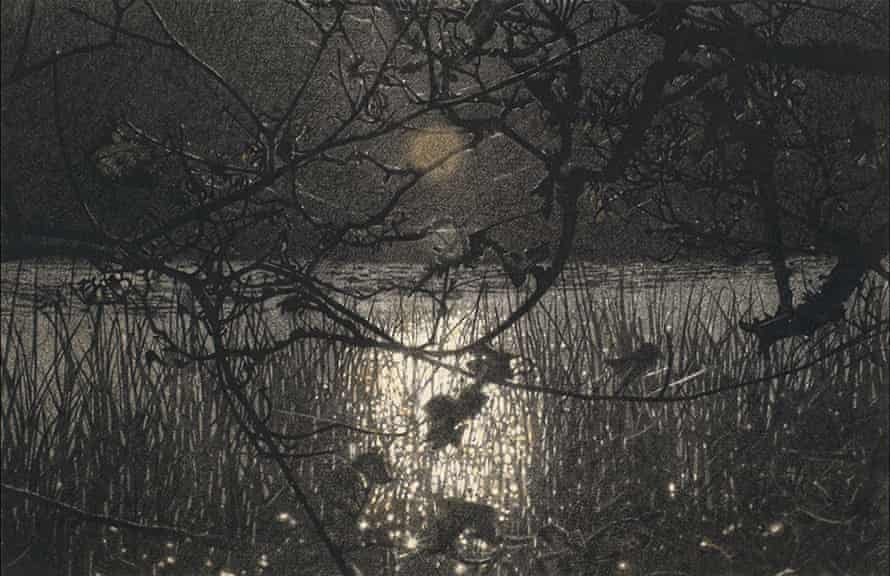Sarah Gillespie's drawing 'Annunciation' (2015) shows Slapton Ley by moonlight