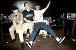 Blink-182's Travis Barker, Mark Hoppus and Tom DeLonge at the Whisky a Go Go in LA in 1996.)