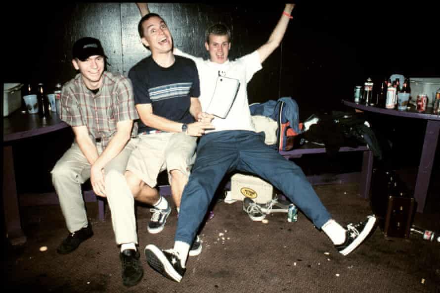 Blink-182's Travis Barker, Mark Hoppus and Tom DeLonge at the Whisky a Go Go in LA in 1996.)