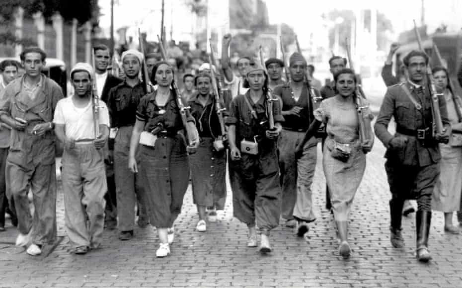 Volunteers of the Spanish Republican militia in Barcelona in July 1936.
