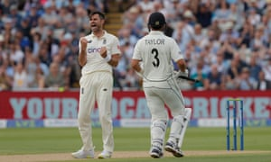 James Anderson celebrates getting LBW on Ross Taylor.
