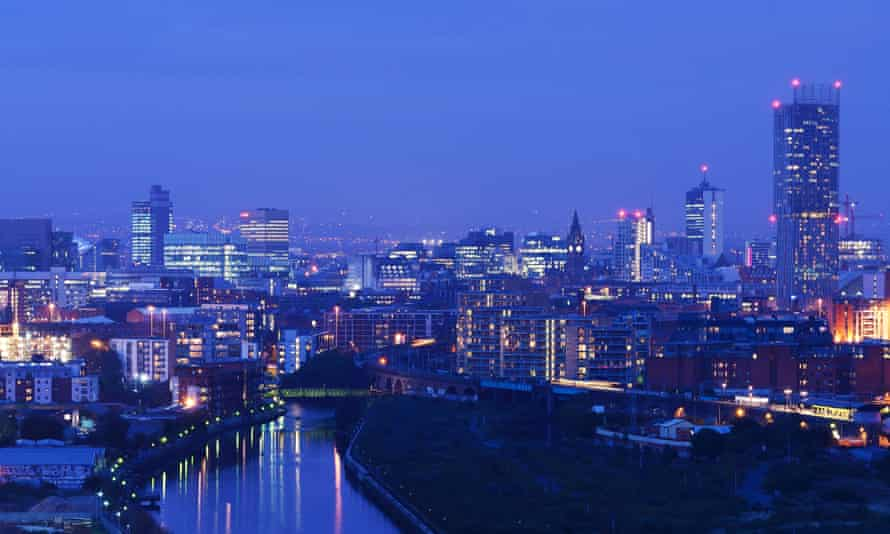 Manchester city centre by night