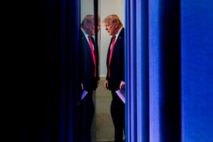 Donald Trump arrives to speak to the press in the Brady briefing room of the White House in July.