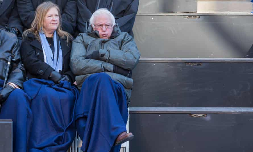 Jane and Bernie Sanders feel the cold at the inauguration of New York City's mayor, Bill de Blasio, in frigid weather in front of City Hall.