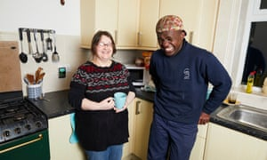 Volunteer host Helen Rathmill, with Stan, who stayed in a spare room in her house