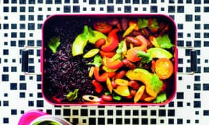 The speedy burrito bowl is a rich source of vitamin E and potassium, among other nutritious ingredients.