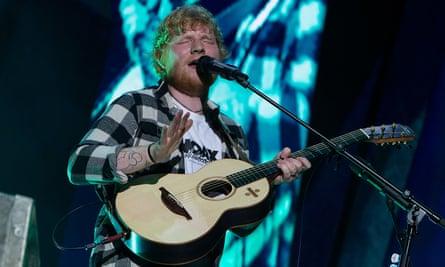 Ed Sheeran on stage.