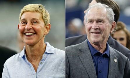 Ellen Degeneres sat next to George W Bush at a Dallas Cowboys football game on 6 October.
