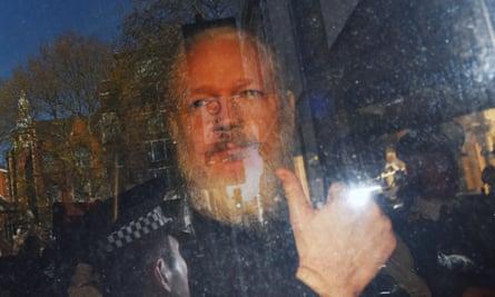 Julian Assange arrives at Westminster magistrates court