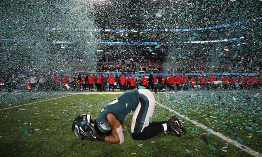 Philadelphia Eagles' Patrick Robinson celebrates winning Super Bowl LII