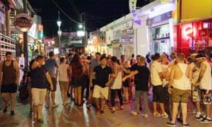 British holidaymakers in Malia, Crete