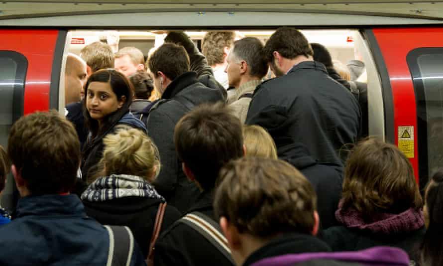 The London underground during rush hour.