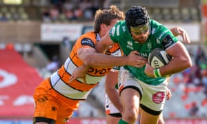 Benetton bursts through a tackle while in action for  Treviso against Toyota Cheetahs in Bloemfontein, in 2018.