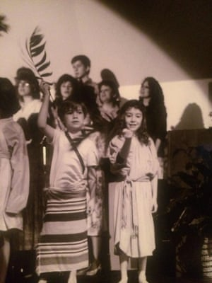 Josiah Hesse, around eight years old, performing in an Easter passion play.