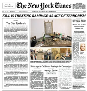 New York Times front page 5 December 2015 with editorial calling for gun control