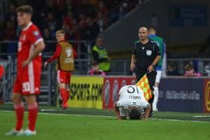 Azerbaijan's Mahir Emreli celebrates after scoring the equaliser.
