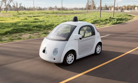 Handout photo of a Goggle self-driving car