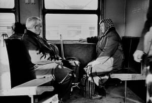 A couple returning from Dacha, on the train between Lomonosov and Leningrad, 1989.