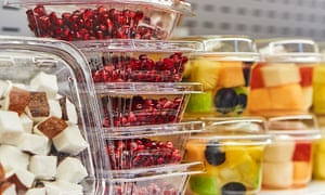 Cut fruit in plastic containers