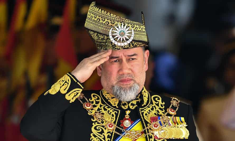 15th king of Malaysia, Sultan Muhammad V, saluting at parliamentary event in July 2018