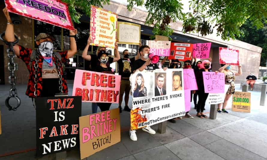 Supporters of Britney Spears attend the #FreeBritney protest outside the Stanley Mosk courthouse in Los Angeles on 16 September 2020.