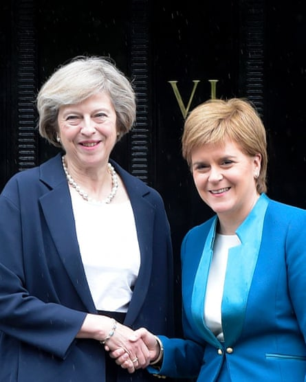 Theresa May, left, with Nicola Sturgeon
