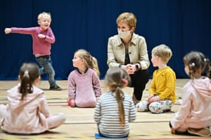 Nicola Sturgeon visiting a play group at the Benachie Leisure Centre in Insch, Aberdeenshire, during a campaign visit today.