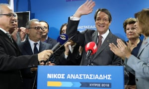 Nicos Anastasiades addresses the media after failing to win an outright majority in the presidential election.