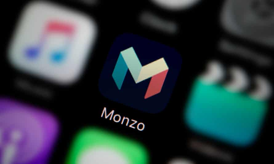 Monzo Bank app icon, as seen on the screen of a smart phone