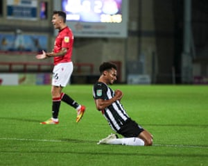 Jacob Murphy celebrates scoring the third for the Magpies.