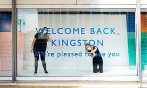 Staff finesse the welcome back sign