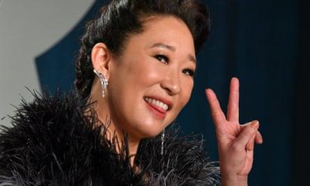 Sandra Oh at the 2020 Vanity Fair Oscar party.