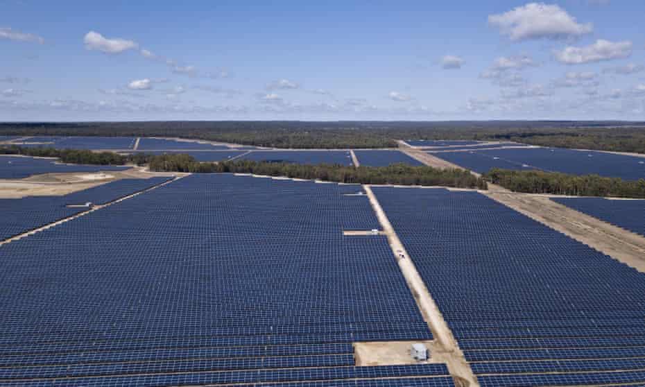 An aerial view of the Darling Downs solar farm near Dalby, Queensland