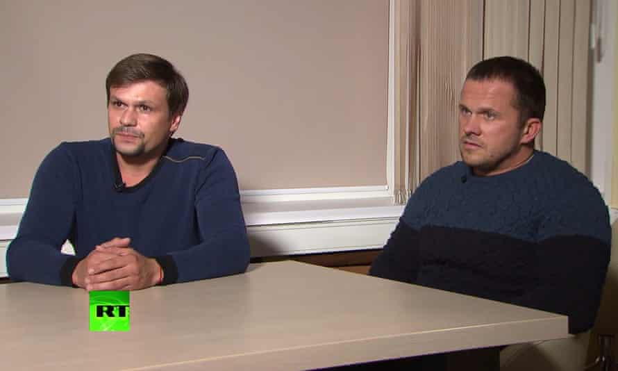 A screengrab from an RT interview with two men who identified themselves as Alexander Petrov and Ruslan Boshirov
