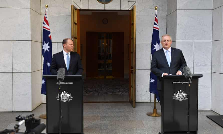 The treasurer, Josh Frydenberg, and the prime minister, Scott Morrison, announce the government's $130bn wage subsidy package at a press conference at Parliament House in Canberra.