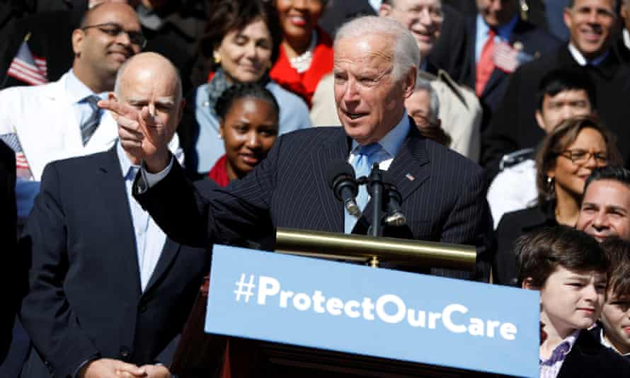 A BFD?: former vice-president Joe Biden speaks at an event marking the seventh anniversary of the passing of the Affordable Care Act outside the Capitol Building in Washington.