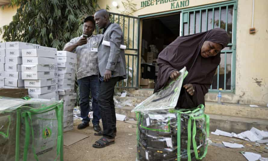 Electoral workers in Kano, northern Nigeria
