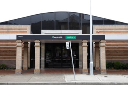 Centrelink and medicare sign in Lithgow, NSW, Australia.