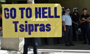 A worker from an Eldorado gold mine in northern Greece protests against the threatened suspension of the company's investment in Greece, outside the environment ministry in Athens.